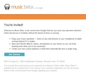 Google Music Invitation