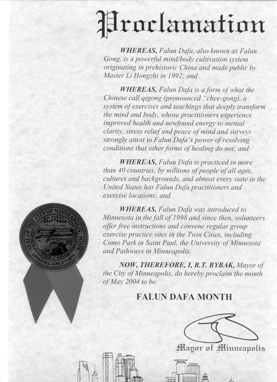 Proclamation of Falun Dafa Month, City of Minneapolis
