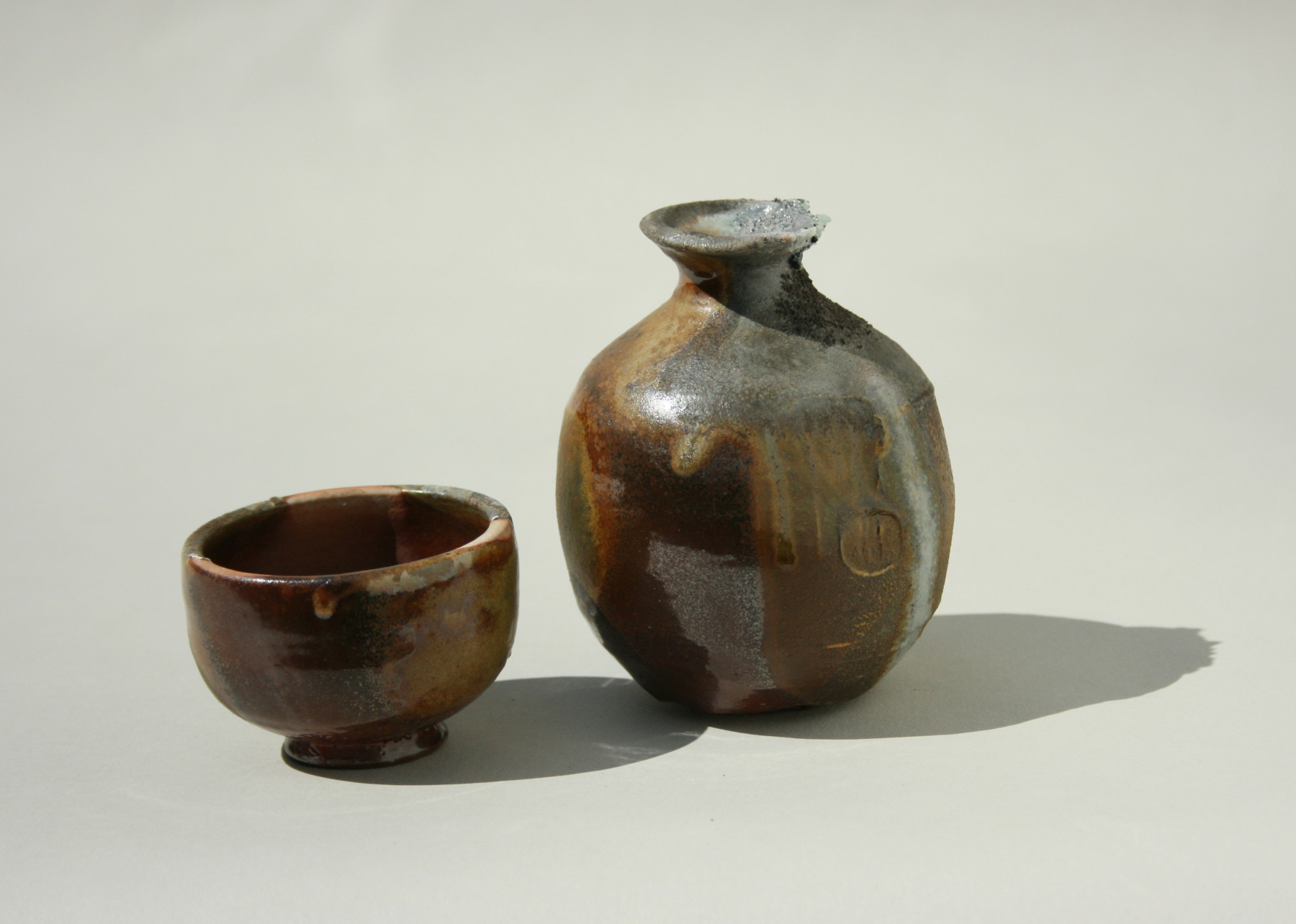 Wood fired sake set, fired at Peter's Valley Craft Center's Anagama kiln