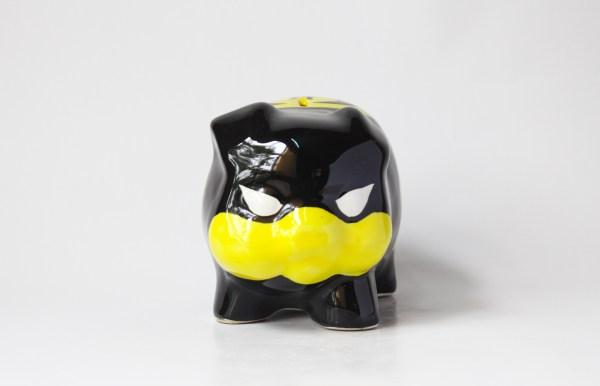 Superhero-themed handmade ceramic piggybank