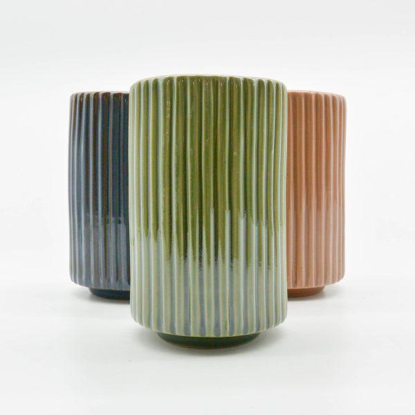 Minh tien ceramic handmade ribbed ceramic vase export translucent glaze