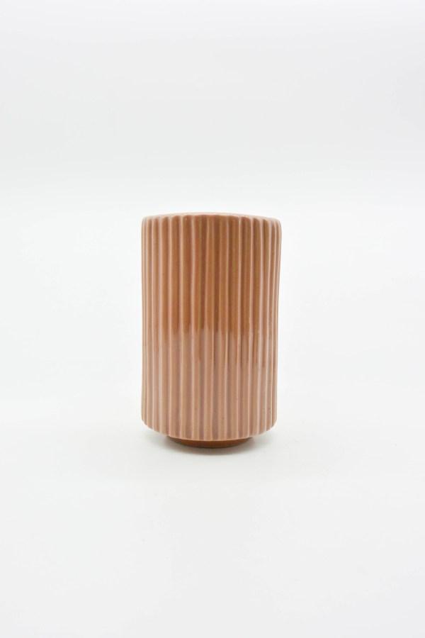 Minh tien ceramic handmade ribbed ceramic vase export translucent pink