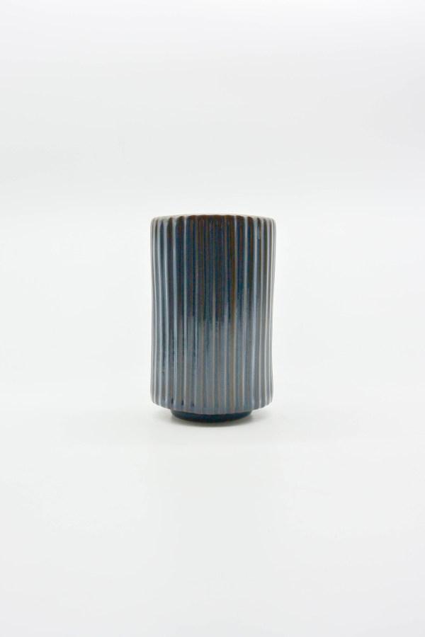 Minh tien ceramic handmade ribbed ceramic vase export translucent blue