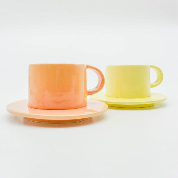 minh tien ceramic morning 04 set saucer handmade orange yellow