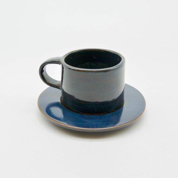 minh tien ceramic morning 04 set saucer handmade dark blue transclucent