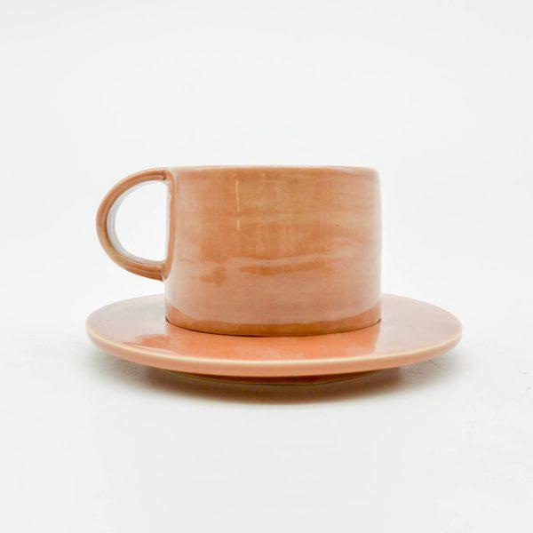 minh tien ceramic morning 04 set saucer handmade pink