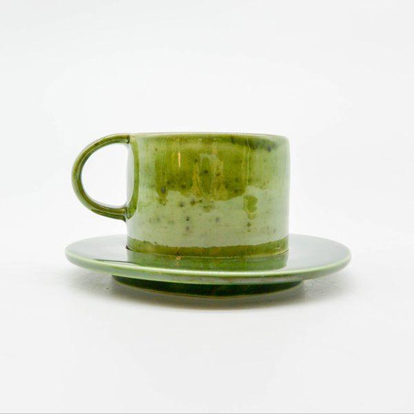 minh tien ceramic morning 04 set saucer handmade green