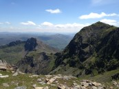 Snowdon to the right, the route back down to the left