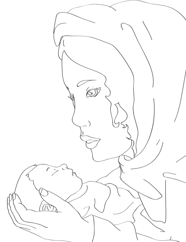 Mary and Baby Jesus Coloring Page – Miniature Masterminds