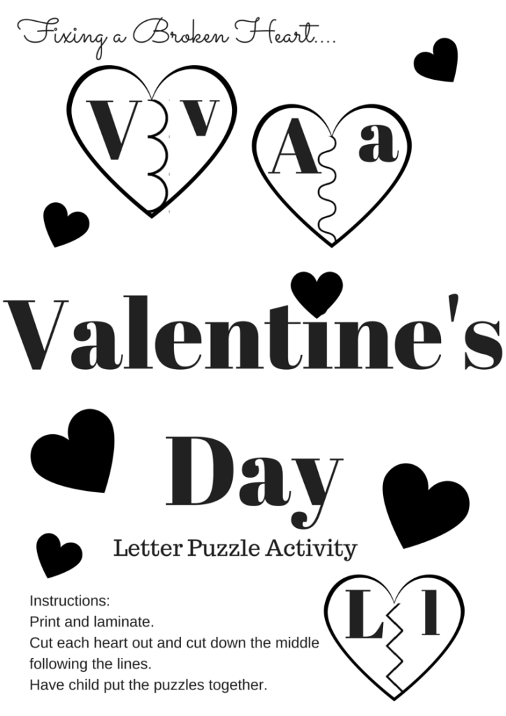 Valentine's Day Letter Puzzle Printable Activity