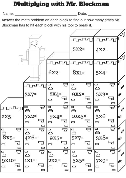 Multiplying With Mr Blockman Free Single Digit Multiplication