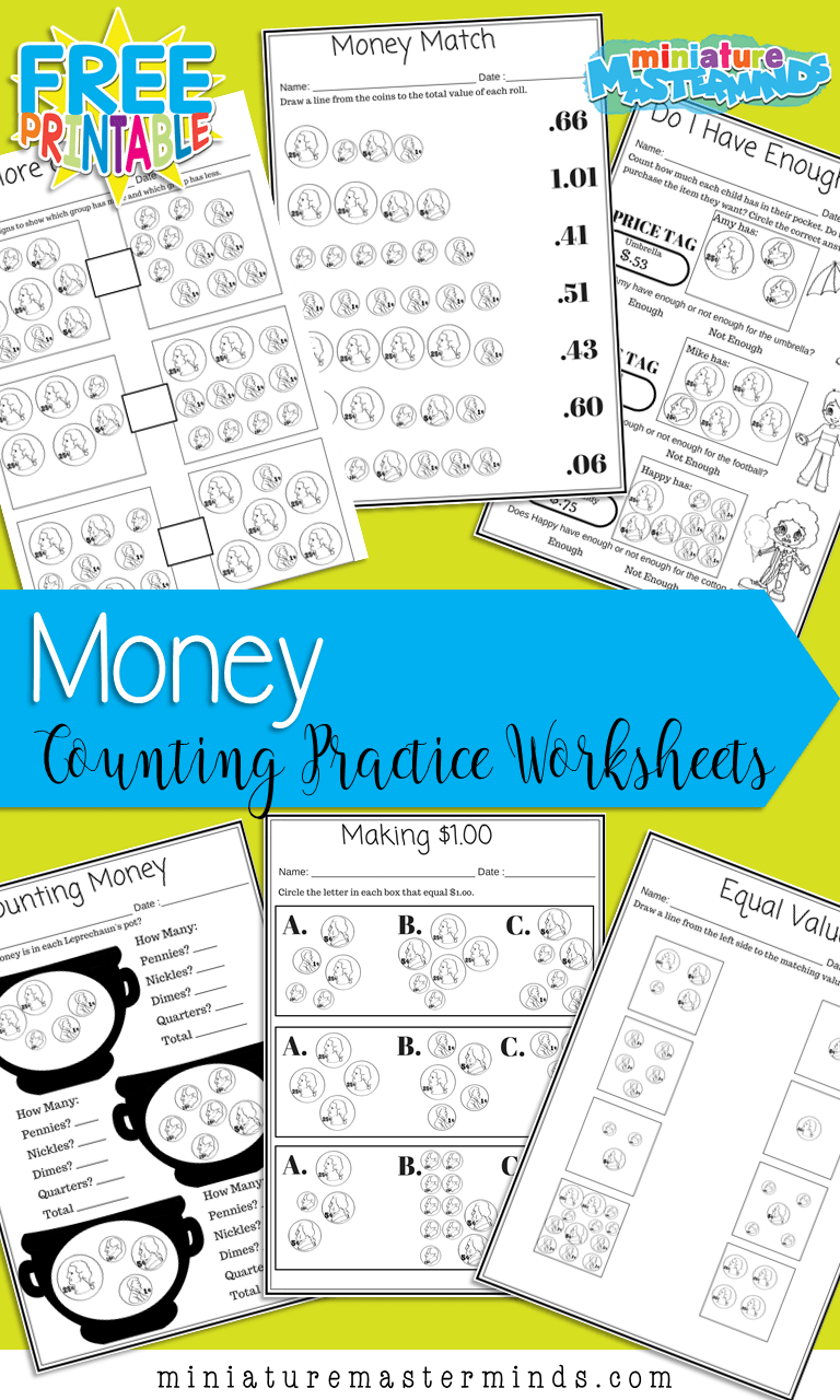 hight resolution of Money Matters – 6 Free Printable Money Counting Worksheets – Miniature  Masterminds