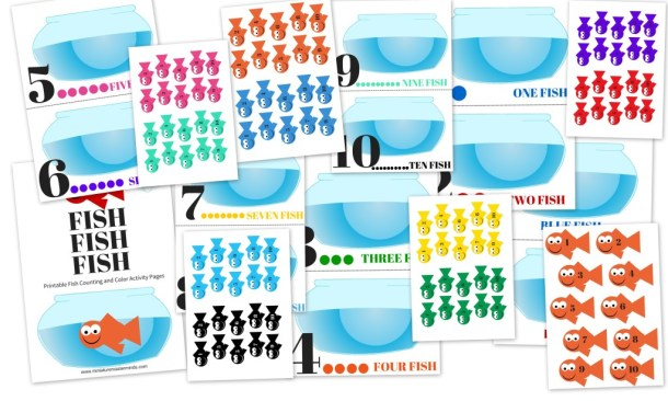 One Fish Two Fish Red and Blue : Preschool Color and Counting Printable Activity(11)