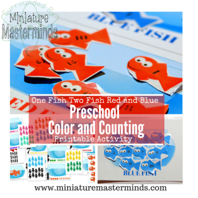 One Fish Two Fish Red and Blue : Preschool Color and Counting Printable Activity