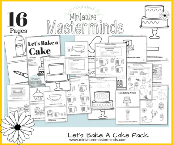 "Let's Bake a Cake - Measuring and Recipe Reading Pack - Includes Early Reader Book ""I Am Baking A Cake"""