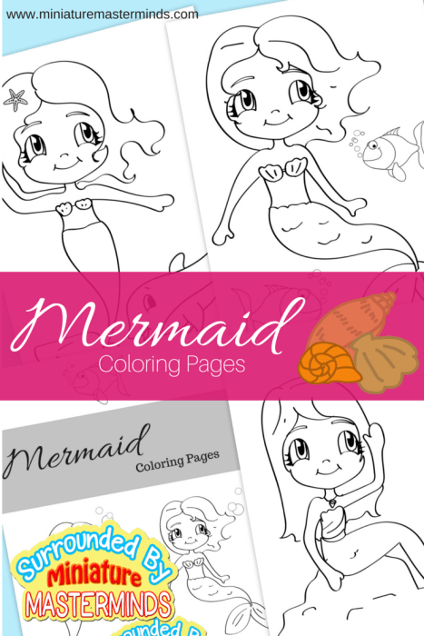 Three Mermaid Coloring Pages