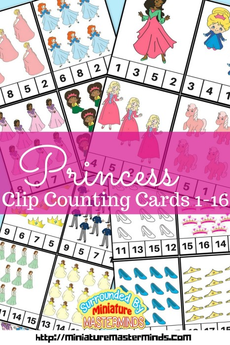 Princess Clip Counting Cards 1-12