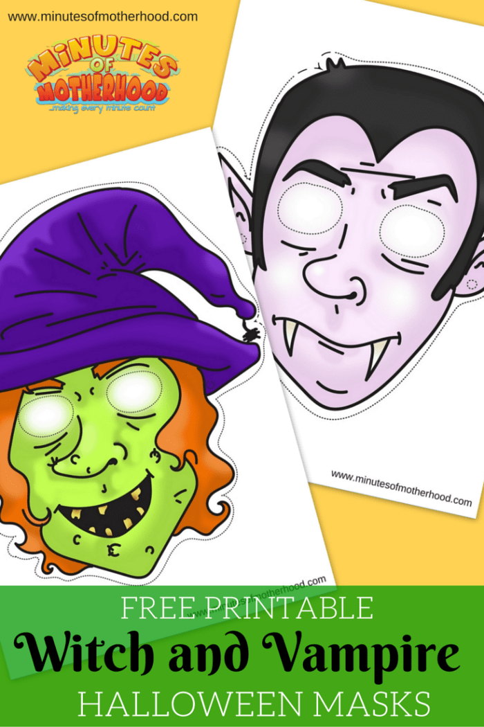 image regarding Free Printable Halloween Masks called Witch And Vampire Masks For No cost Printable Halloween Enjoyable