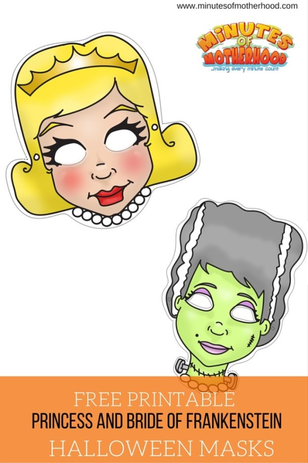 Princess and Bride Of Frankenstein Free Printable Masks