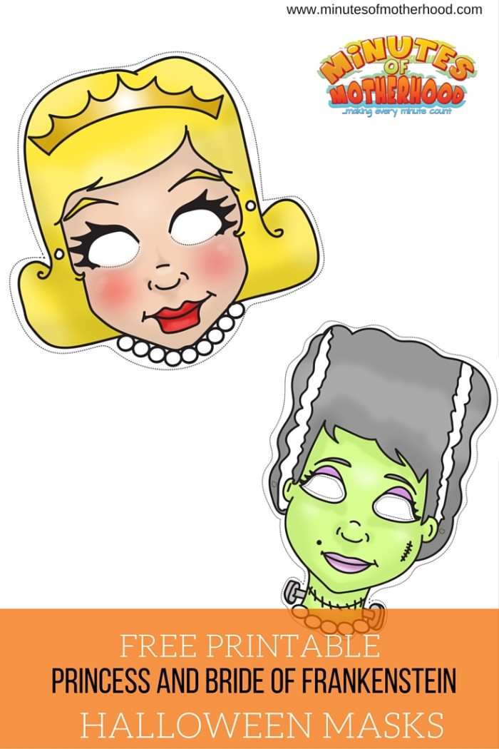 Princess and Bride Of Frankenstein Free Printable Masks