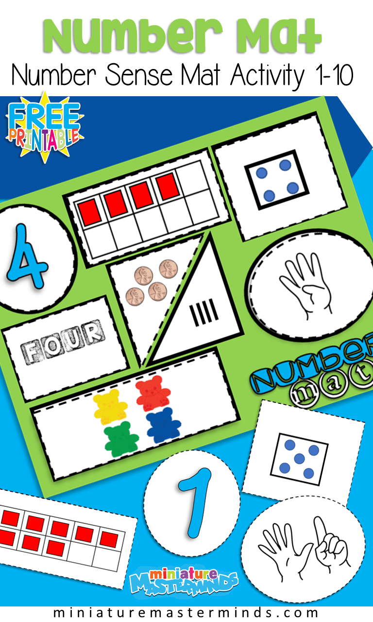 medium resolution of Free Printable Number Sense Number Mats From 1 to 10 Preschool and  Kindergarten – Miniature Masterminds