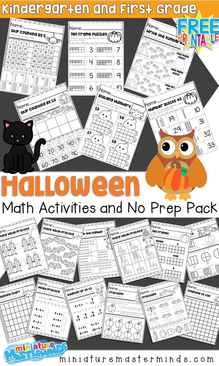 hight resolution of Halloween Themed Kindergarten and First Grade Math Activities and No Prep Math  Worksheets – Miniature Masterminds