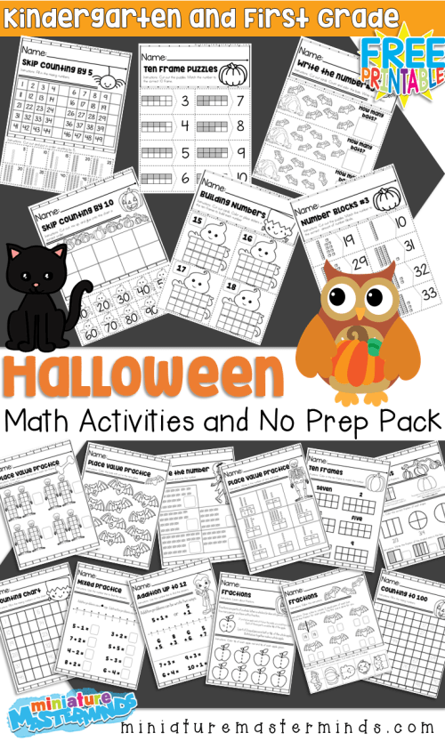 small resolution of Halloween Themed Kindergarten and First Grade Math Activities and No Prep Math  Worksheets – Miniature Masterminds