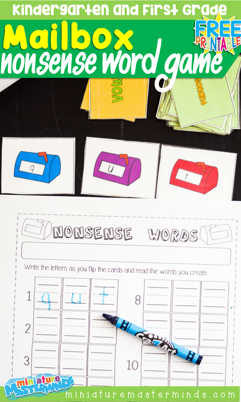hight resolution of Free Printable Mailbox Nonsense Word Building Card Game For Kindergarten  and First Grade – Miniature Masterminds