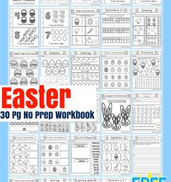 Easter No Prep Preschool And Kindergarten Worksheet 30 Page Book Free  Printable Download – Miniature Masterminds [ 1102 x 735 Pixel ]