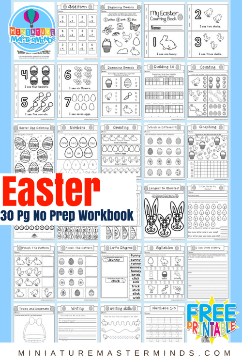 small resolution of Easter No Prep Preschool And Kindergarten Worksheet 30 Page Book Free  Printable Download – Miniature Masterminds
