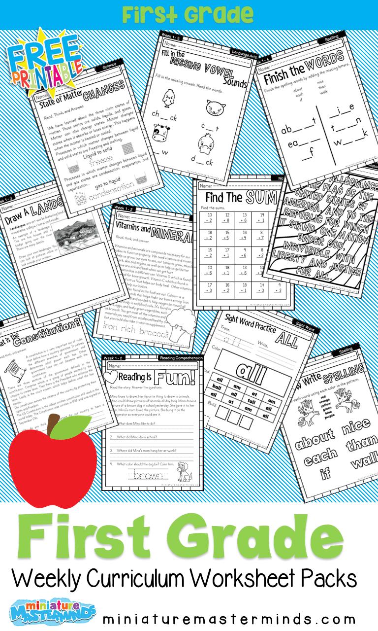 medium resolution of First Grade Home School Curriculum Printable Book Week One – Miniature  Masterminds