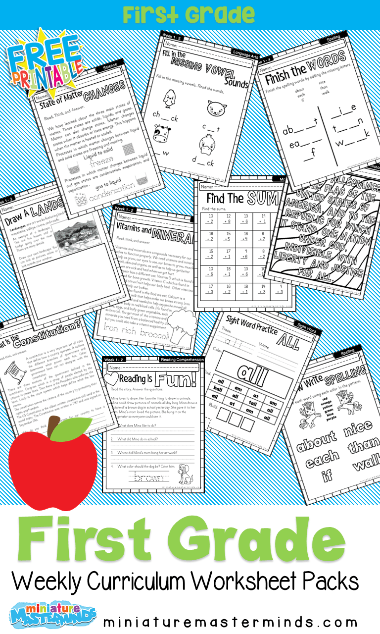 hight resolution of First Grade Home School Curriculum Printable Book Week One – Miniature  Masterminds