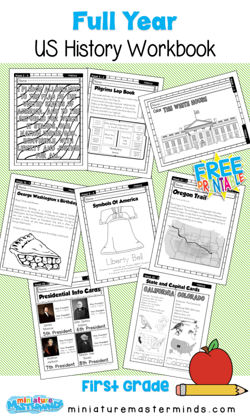 small resolution of American History Work Book Ages 6 to 8 Free Printable Worksheets and  Activities – Miniature Masterminds