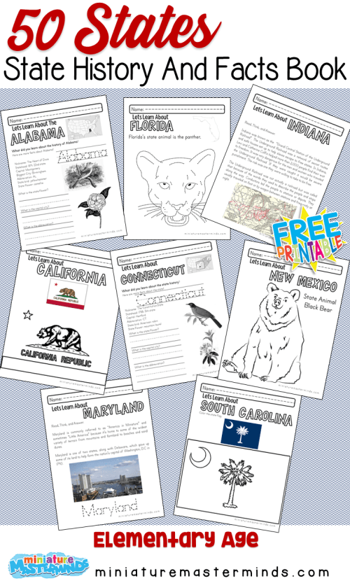 small resolution of The 50 States of The United States History and Facts Book Over 250 Pages!  Free To Print! – Miniature Masterminds