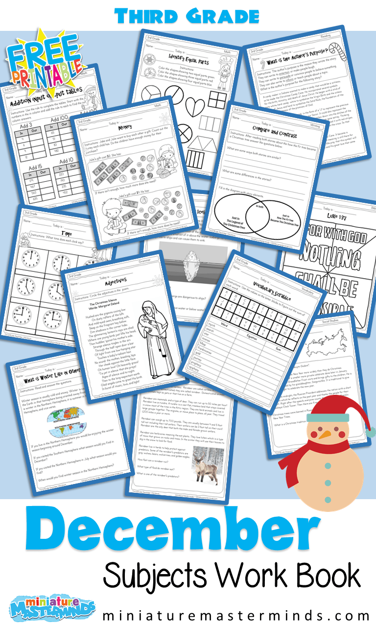 hight resolution of 170+ Page Third Grade December Worksheet Book With Several Different  Subjects – Miniature Masterminds