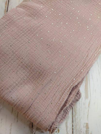 tissu-double-gaze-coton-rose-clair-pois-argentes