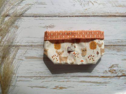 panier-rangement-lingettes-bebe-lavables-coton-bambou-renards-feuillage-orange