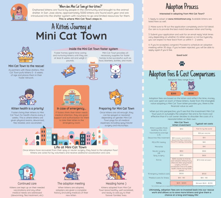 Infographic showing how an adoptable kitten journeys through Mini Cat Town. Contains cute kittens, explanation of foster program, the adoption floor, adoption process, and fees and costs.