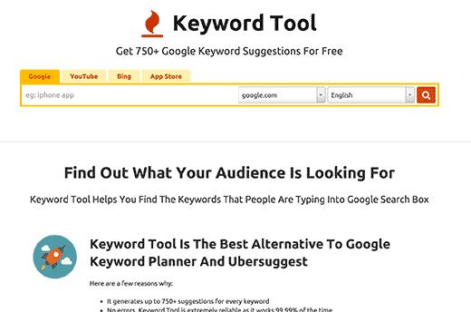 keywordtool.io for keyword research tools for seo