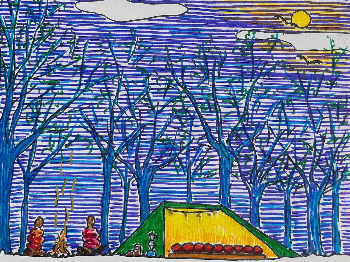 Tekening van een tent in het bos