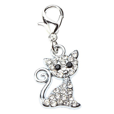 Cat Dog Tag Rhinestone Cartoon Silver Alloy 465194 2017