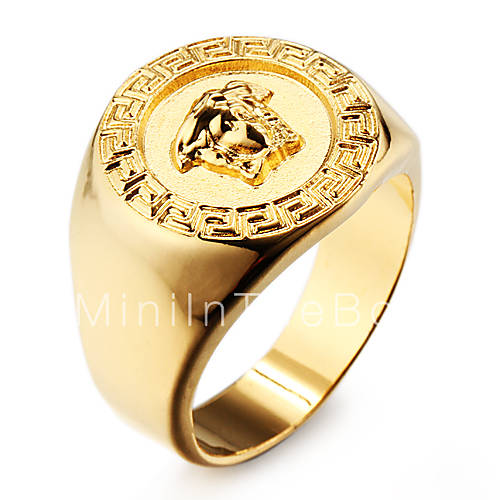 Famous 18K Gold Plated Stainless Steel Mens Ring Jewelry