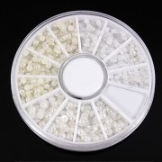 1200pcs mix sizes white&ivory pearl