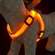 la formación de luz de seguridad arneses resplandor correa para perros llevó el collar de perro