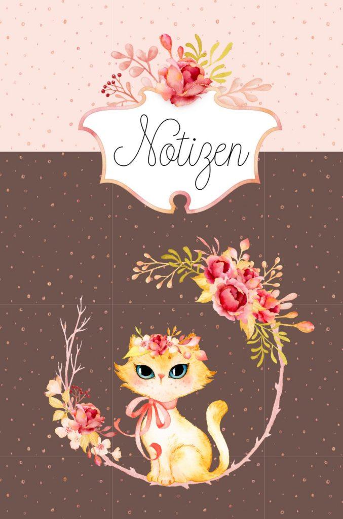 Notizbuch Katze in Blumenranke von miniKatz Papers