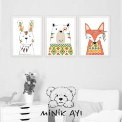Minik Ayı Etnik Desenli Hayvanlar
