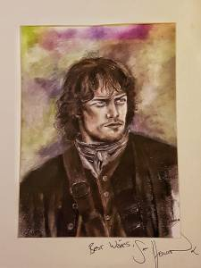 Sam Heughan painting by Suu Caledonia