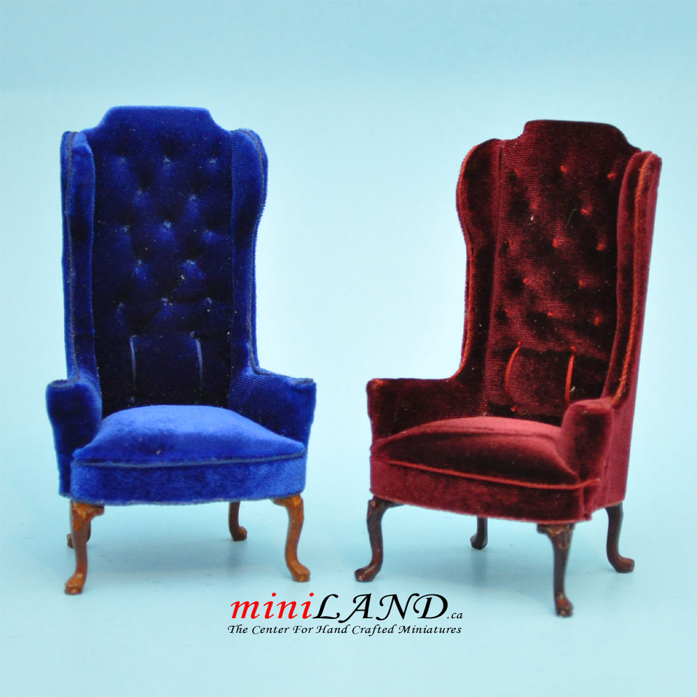 Teal Wingback Chair Luxurious Elegant Quality Tall Wingback Chair Royal Blue Velvet For Dollhouse Miniature 1 12 Scale