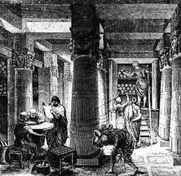 Interior da Biblioteca de Alexandria (sec. III a.C.)
