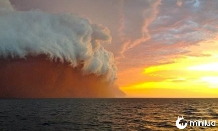 A spectacular thunderstorm captured from a tug boat west of False Island, off Onslow in the Pilbara: Byline: Brett Martin